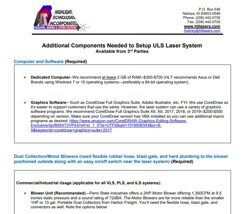 Additional Components Needed to Setup ULS Laser System