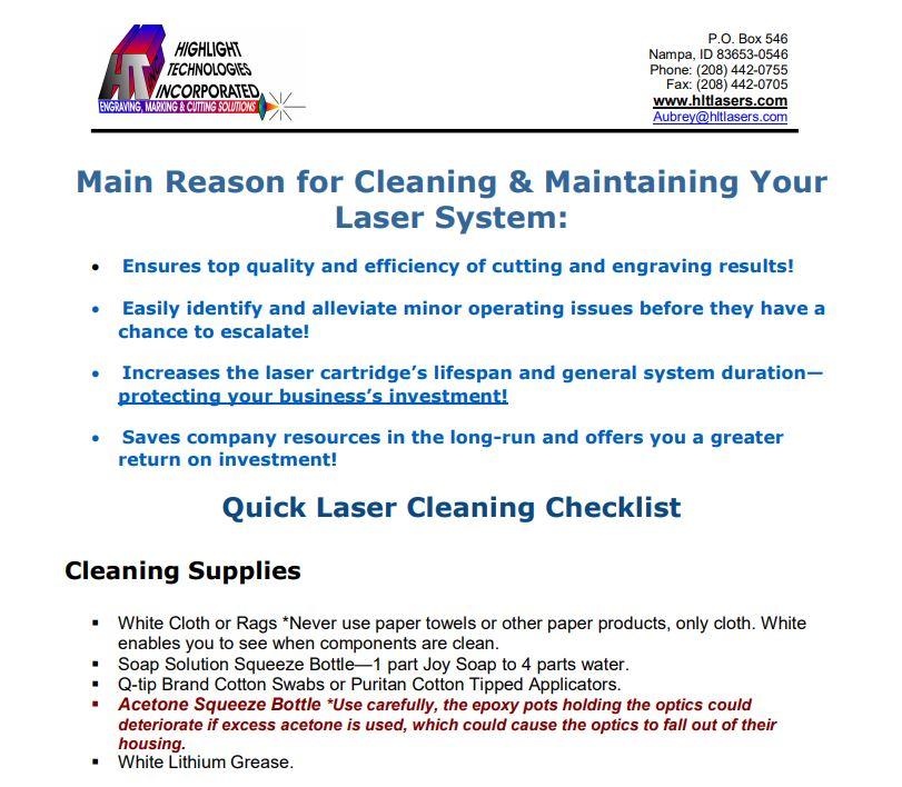 Laser Cleaning Checklist
