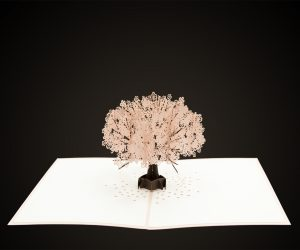 paper based materials card stock laser cutting 3 dimensional card with cherry blossom tree from lovepop with a 10.6 micron co2 laser