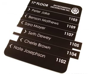 plastics rowmark materials laser engraving interior signage with a 10.6 micron co2 laser